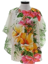 Womens Hippie Style Pleated Butterfly Hawaiian Shirt
