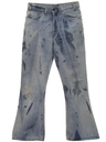 Mens Acid Washed Flared Jeans Pants
