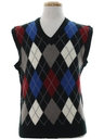 Mens Preppy Totally 80s Argyle Sweater Vest