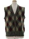 Mens Mod Preppy Argyle Sweater Vest