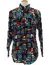 Mens Geometric Print Totally 80s Western Shirt