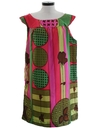 Womens Mod A-Line Op-Art Print Dress
