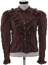 Womens Totally 80s Ruffled Western Style Shirt
