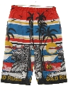 Mens Totally 80s Print Baggy Long Board Shorts