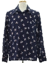 Mens Mod Print Disco Style Cotton Blend Sport Shirt