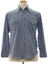 Mens Chambray Hippie Style Western Shirt