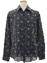 Mens Print Disco Style Cotton Blend Shirt