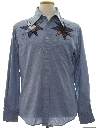 Mens Chambray Hippie Western Shirt