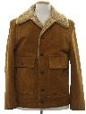 Mens Mod Suede Leather Car Coat Jacket