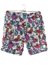 Mens Totally 80s Print Baggy Swim Shorts