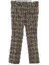 Mens Flared Western Style Plaid Leisure Pants