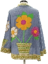 Womens Mod Chambray Appliqued Pow-Flower Hippie Shirt