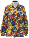 Womens Pow-Flower Print Hippie Shirt