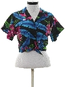 Womens Totally 80s Cropped Hawaiian Shirt