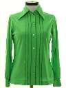 Womens Pleated Front Solid Disco Shirt