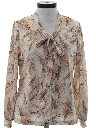 Womens Print Secretary Style Disco Shirt