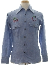Mens Embroidered Chambray Western Hippie Shirt