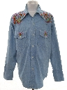 Mens Embroidered Chambray Hippie Western Shirt