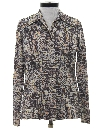 Womens Print Disco Style Knit Shirt