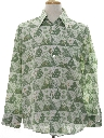 Mens Hippie Print Disco Style Cotton Blend Shirt