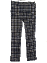 Mens Wool Flared Plaid Flat Front Slacks Pants