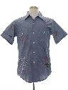 Mens Embroidered Chambray Hippie Shirt