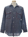 Mens Embroidered Chambray Hippie Work Shirt