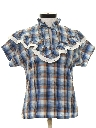 Womens Ruffled Western Style Shirt