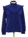 Womens Totally 80s Ruffled Western Style Secretary Shirt