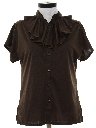 Womens Ruffled Secretary Shirt