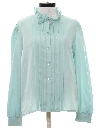 Womens Ruffled Pleated Secretary Shirt