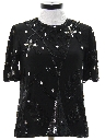 Womens Totally 80s Beaded And Sequined Cocktail Shirt