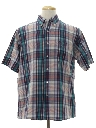 Mens Totally 80s Preppy Plaid Sport Shirt