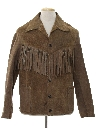 Mens Hippie Fringed Suede Leather Jacket