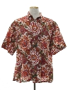 Mens Graphic Print Linen Sport Shirt