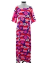 Womens Mod A-Line Hawaiian Maxi Dress