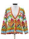 Womens Totally 80s Abstract Cardigan Sweater