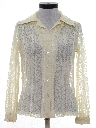 Womens Lace Solid Disco Style Shirt