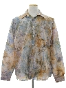 Mens Print Disco Hippie Style Shirt