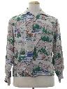 Mens Print Rayon Sport Shirt