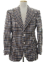 Mens Plaid Disco Style Blazer Sport Coat Jacket