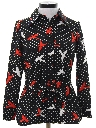Womens Mod Knit Print Disco Shirt