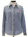 Womens Chambray Embroidered Hippie Shirt