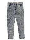 Womens Acid Washed Tapered Leg Denim Jeans Pants