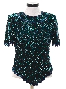 Womens Totally 80s Designer Beaded and Sequined Cocktail Shirt
