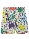 Mens Totally 80s Print Baggy Shorts