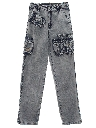 Womens Cargo Acid Wash Denim Jeans Pants