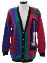 Womens Totally 80s Sequined Cardigan Sweater