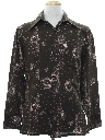 Mens Cotton Blend Print Disco Style Sport Shirt