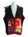 Unisex Multicolor Lightup Hand Made Patchwork Ugly Christmas Sweater Vest
